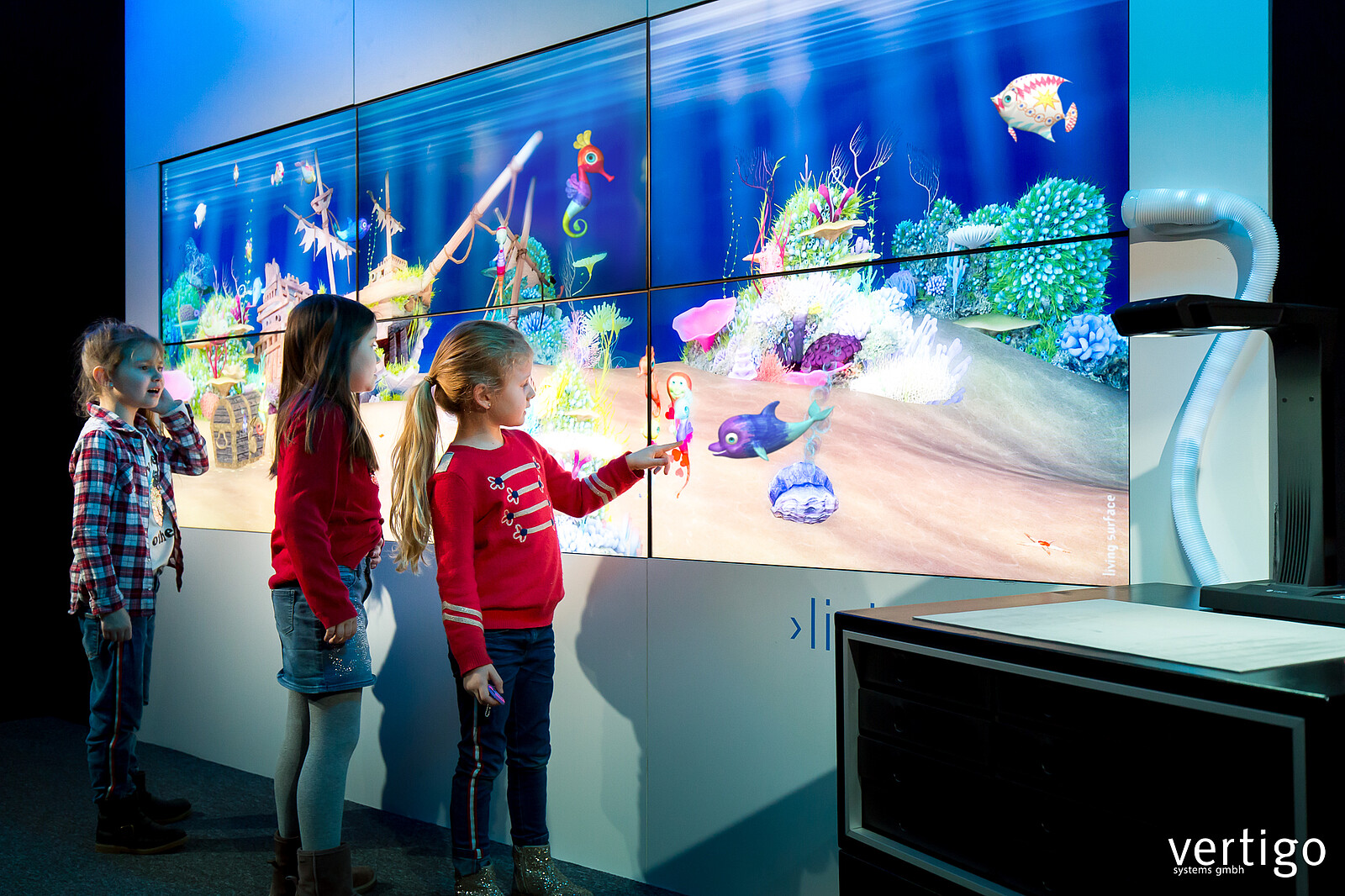 immerse into the virtual world, kids play together and with the creatures