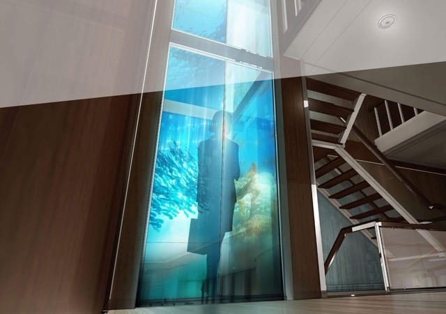 virtual aquarium in elevator cabin