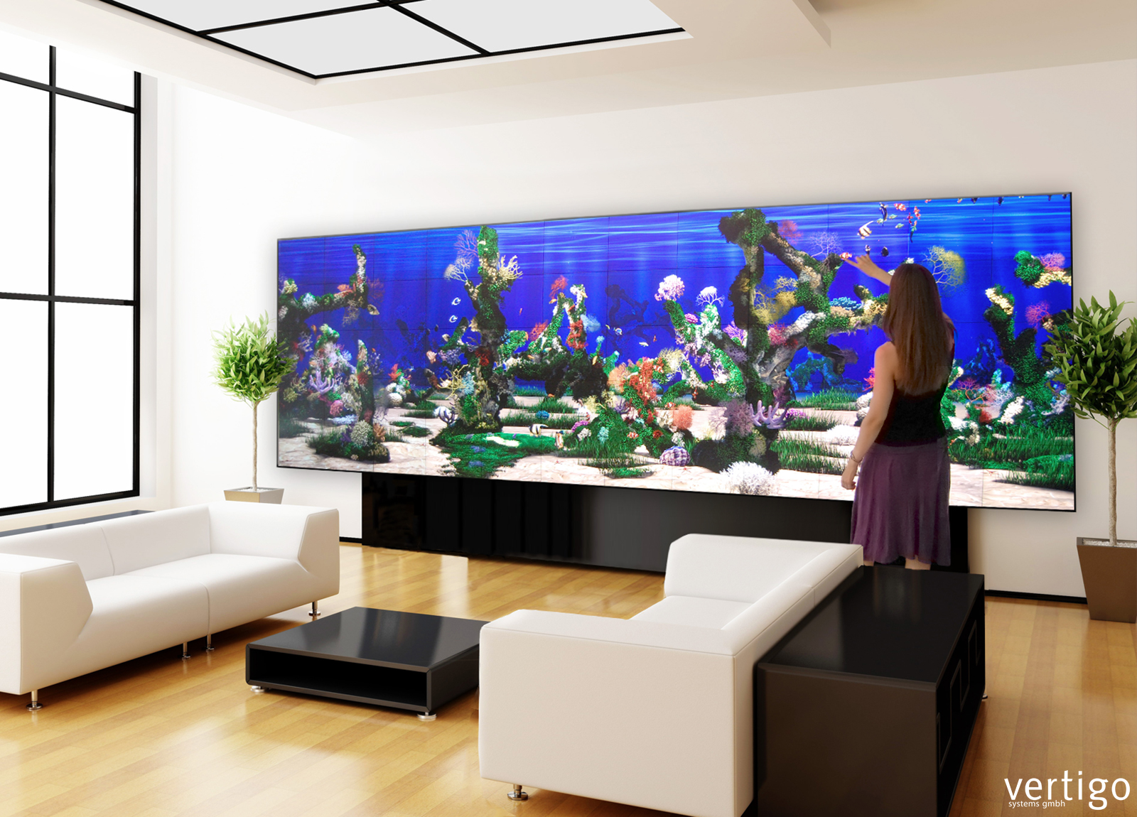 living wall interactive projected walls and videowalls vertigo systems gmbh. Black Bedroom Furniture Sets. Home Design Ideas