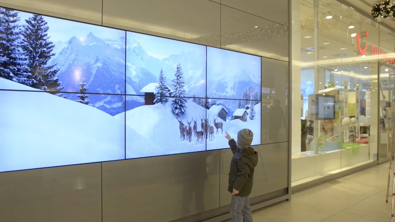 interactive wall in a shopping mall